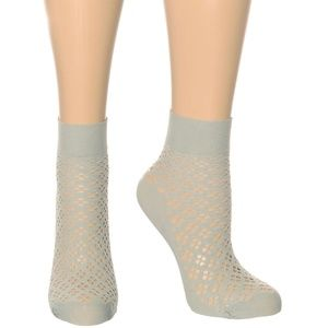NEW Girly in Grey Perforated Net Ankle Socks